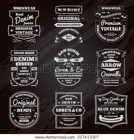 Classical denim jeans black chalkboard typography emblems limited edition graphic design icons collection abstract isolated  illustration