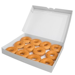 Classical donuts cardboard box for pastry delivery isolated on white background. Sweet fast food concept. Tasty dessert doughnuts cakes from bakery for breakfast.