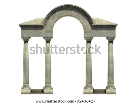 classical entrance with arch and columns.