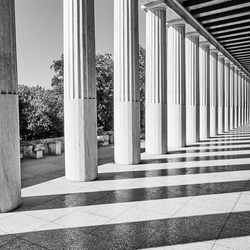 Classical greek columns, Athens, Greece. Black and white architectural photography