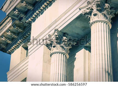 Classical Greek Columns in a Bank building