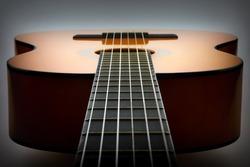 Classical guitar lying flat, vignette