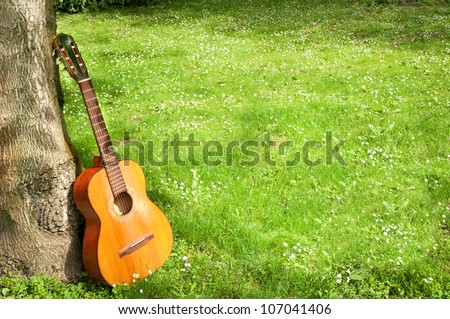 classical guitar propped against a tree trunk in the background grass horizontal