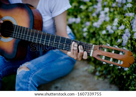 Classical guitarists and musicians playing happily. Music Concepts
