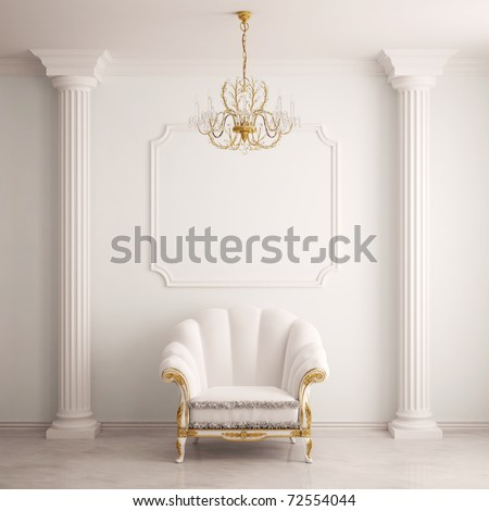 Classical interior with an armchair - stock photo