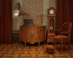 Classical interior with grandfather's clock and gramophone