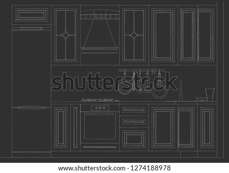 Classical kitchen facade with elegant cabinetry details. Layout on a black background. 3d illustration.