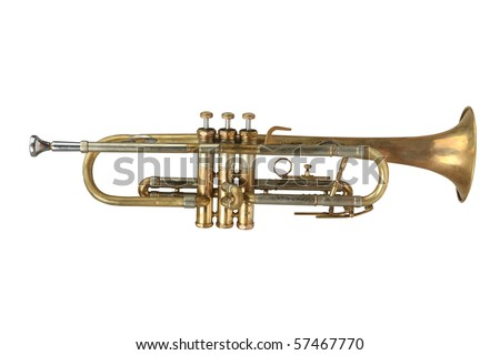 classical music wind instrument trumpet (with Clipping Paths)