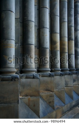 Classical Old Grey Pillars in Perspective