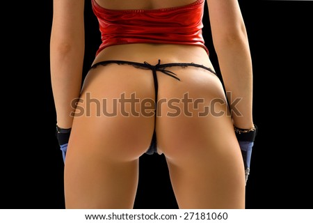 classical pin-up image of girl bum on black background