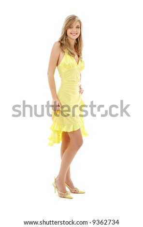 classical pin-up image of pretty lady in yellow dress over white