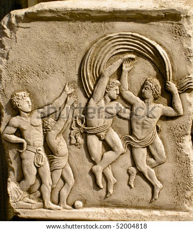 Classical plaque of dancing of men dancing