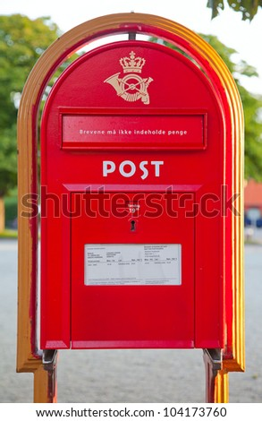 Classical post box in Copenhagen, Denmark