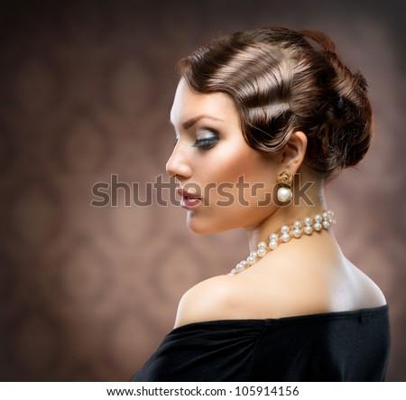Classical Retro Style Portrait. Romantic Beauty. Vintage. Jewelry