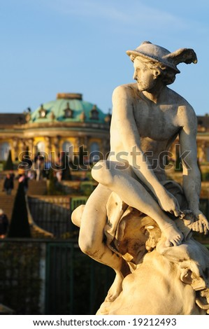 "classical statue in front of ""Castle Sans Souci"" Potsdam, Germany"