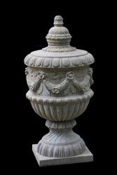Classical stone Urn, isolated on black background