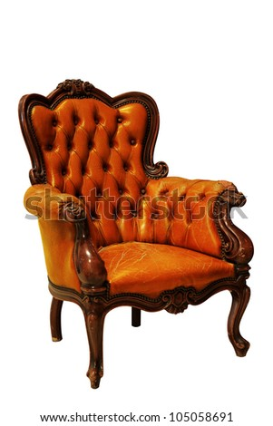 Classical tan leather sofa carved wood isolated on white background with clipping path