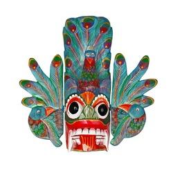 Classical traditional wooden Sri Lanka mask isolated on white background. Copy of ancient mask of Maura Raksha