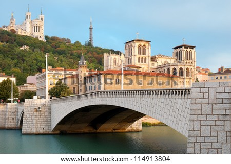Classical view of Lyon over the Saone river. GPS information is in the file