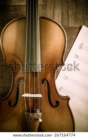 classical Violin on blank Music sheet for music composer concept background