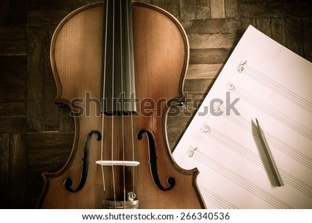 classical Violin & pencil on blank Music sheet for music composer concept background