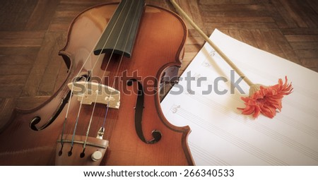 classical Violin & red flower on blank Music sheet for music background