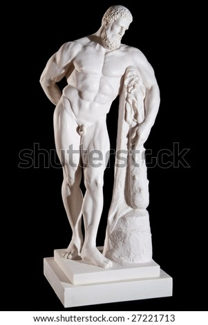 Classical white marble Hercules statue isolated on black background
