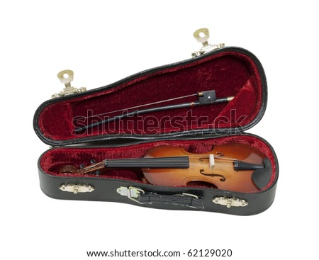 Classical wooden Violin with molded carrying case for ease of travel - path included