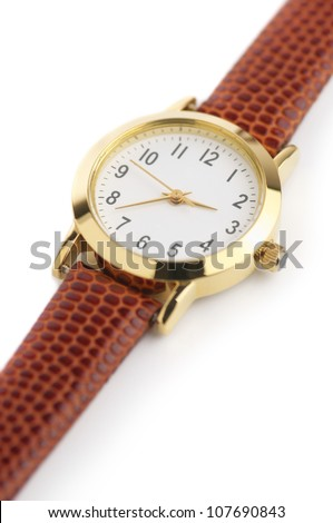 Classical wrist watch on white background.