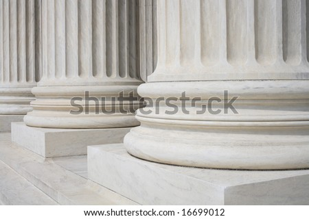 Classically ordered and fluted columns at the Supreme Court in Washington, DC.