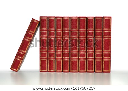 classics red closed books in a row on white and pale grey background