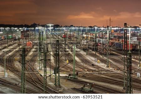 Classification yard Maschen near Hamburg, Germany at night, it is the biggest marshalling yard in Europe.