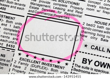 Classified Ad, newspaper, business concept. - stock photo