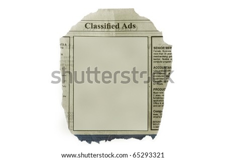 Classified ads isolated in white background - with blank space for your text.