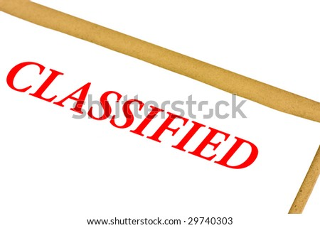 Classified paper isolated on white