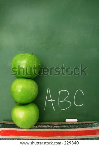 Classroom chalkboard with apples. Room at the top for text.