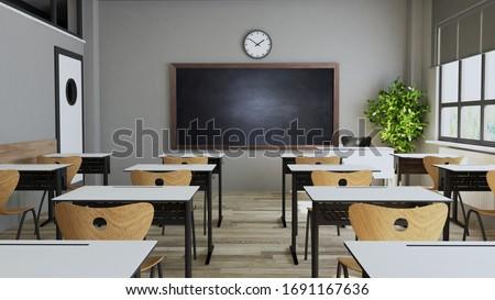 Classroom design with modern desks, seats, blackboard, watch and door 3D rendering