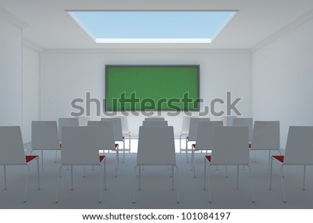 Classroom frontal with window and chalkboard and chairs