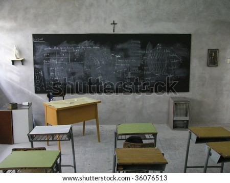 Classroom in a catholic school in Argentina - stock photo
