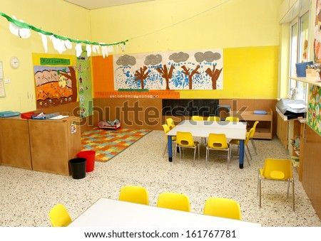 classroom in a kindergarten with little chairs for the children