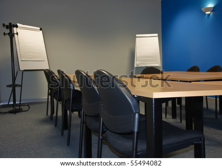 classroom or meeting room with flip boards - stock photo