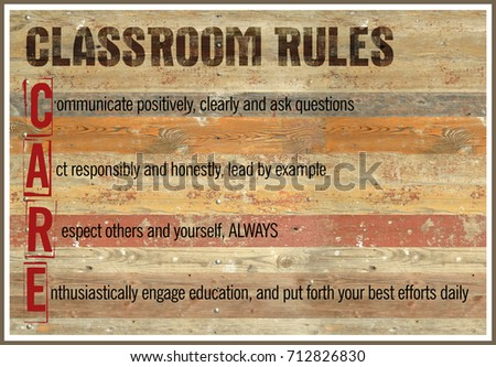 Classroom Rules Wood Background Poster