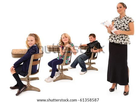Classroom theme over white background with students and teacher.