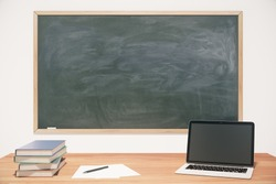 Classroom with chalkboard, wooden table, books and laptop, mock up 3D Render