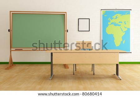 Classroom with desk green blackboard and map - rendering - the map on wall is a my image