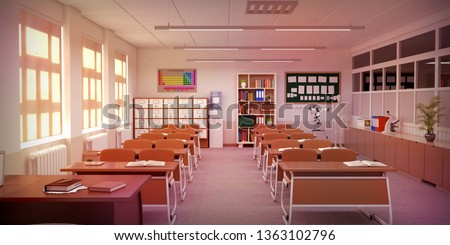 Classroom with table, chairs, panel and school cabinet. Clasroom front view. 3D Rendering. Foto stock ©