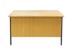 classroom wood table isolated with clipping path