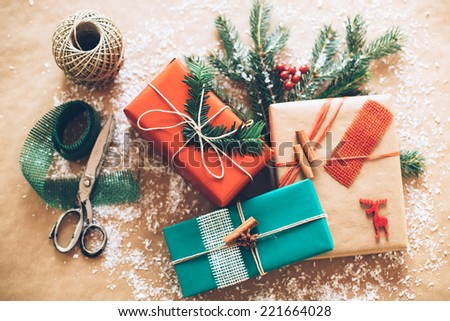 Classy Christmas gifts box presents on brown paper #221664028