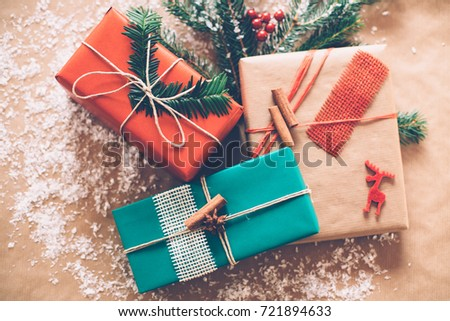 Classy Christmas gifts box presents on brown paper #721894633