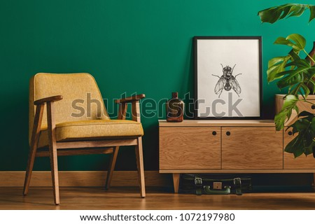 Classy minimalist living room interior with a framed insect poster on a wooden dresser, yellow armchair and monstera plant